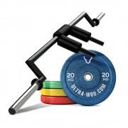 Комплект Гриф Хэтфилда + Бамперные диски общим весом 164 кг