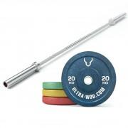 Комплект Гриф + Бамперные диски общим весом 115 кг